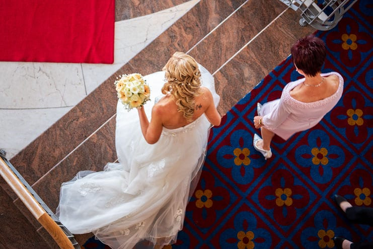 bride portrait from above